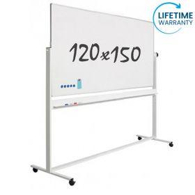 verrijdbaar whiteboard emaille 120 x 150 cm