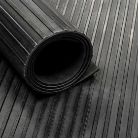 Rubber Flooring (roll) - Broad Ribbed - Width: 100 cm Thickness: 6 mm
