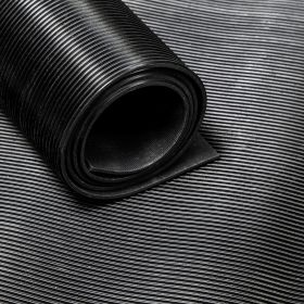 Rubber Flooring (roll) - Fine Ribbed - Width: 120 cm Thickness: 3 mm