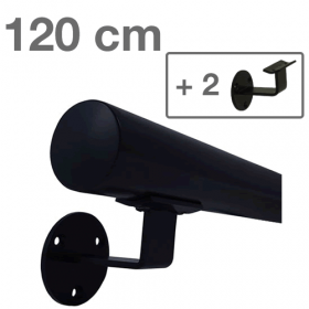 Handrail - Black - 120 cm (+ 2 Wall Brackets)