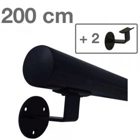 Handrail - Black - 200 cm (+ 2 Wall Brackets)