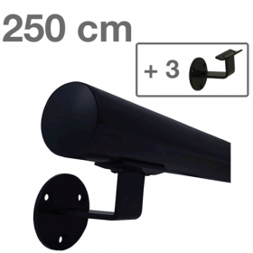 Handrail - Black - 250 cm (+ 3 Wall Brackets)