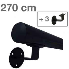 Handrail - Black - 270 cm (+ 3 Wall Brackets)