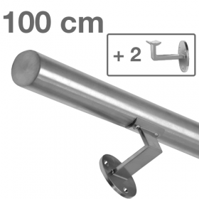 Handrail - Brushed Stainless Steel - 100 cm (+ 2 Wall Brackets)