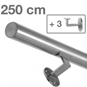 Handrail - Brushed Stainless Steel - 250 cm (+ 3 Wall Brackets)