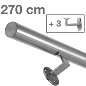 Handrail - Brushed Stainless Steel - 270 cm (+ 3 Wall Brackets)