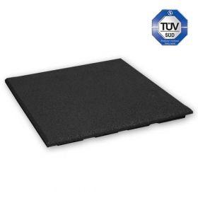 Rubber tegel 30 mm - 50 x 50 cm - Zwart