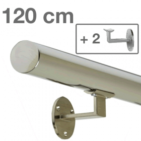 Handrail - Stainless Steel - 120 cm (+ 2 Wall Brackets)