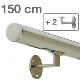 Handrail - Stainless Steel - 150 cm (+ 2 Wall Brackets)
