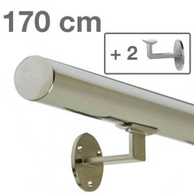Handrail - Stainless Steel - 170 cm (+ 2 Wall Brackets)