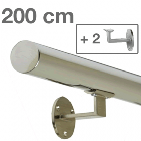 Handrail - Stainless Steel - 200 cm (+ 2 Wall Brackets)