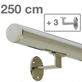 Handrail - Stainless Steel - 250 cm (+ 3 Wall Brackets)