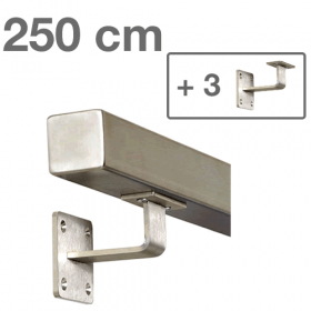 Square Handrail - Brushed Stainless Steel - 250 cm (+ 3 Wall Brackets)