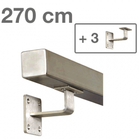Square Handrail - Brushed Stainless Steel - 270 cm (+ 3 Wall Brackets)