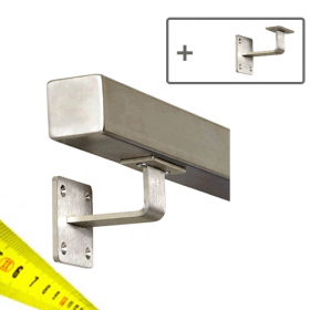 Square Handrail - Made to Order - Brushed Stainless Steel (+ Wall Brackets)